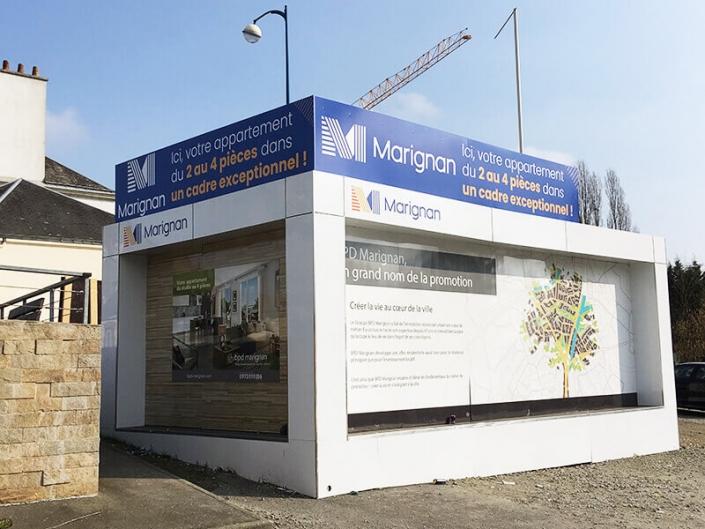 Publicité sur lieu de vente pour promoteur immobilier - Adhésif Publicité - Votre signalétique adhésive sur Nantes (44)